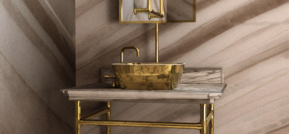 Selaira Washstand with Gold Basin