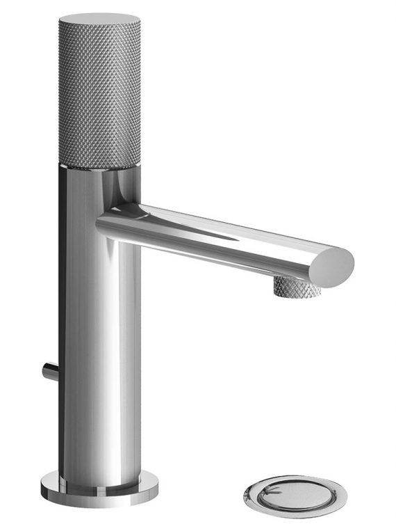 FV182:59K. Single handle lavatory set, knurled cylinder handle, with pop-up drain assembly 1
