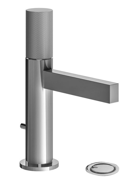 FV182:J2K. Single handle lavatory set, knurled cylinder handle, with pop-up drain assembly 1