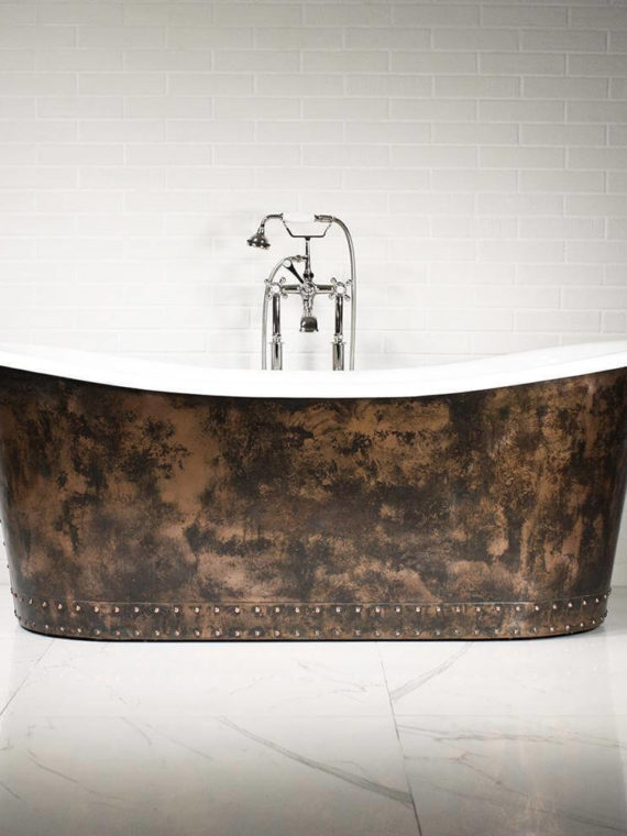 The Hampton – 73- Cast Iron French Bateau Tub Package with Aged Copper Exterior