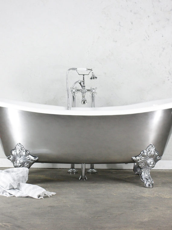 The Wollaston – Cast Iron French Bateau Clawfoot Tub with an AGED CHROME Exterior plus Drain